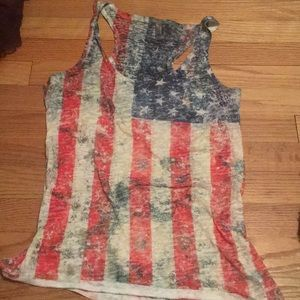 Tops - American flag Razor back tank top